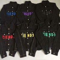 novas cores jeans homens venda por atacado-New Style Top clássico vermelho AMIGOS jaqueta Letter Printing Pop Mulheres Homens revestimento de brim Hip hop Brasão skate 6 cores