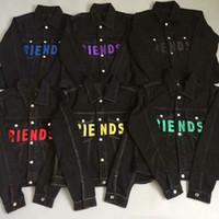 estilos do revestimento do jean venda por atacado-Vlone FRIENDS jaqueta Novo Estilo TOP Clássico vermelho LOGOTIPO Big Impressão Pop Mulheres homens jaqueta jaqueta Hip hop Skate Marca 6 cores