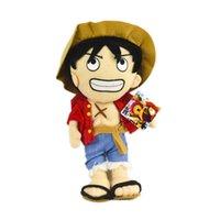 tek parça peluş oyuncak bebek toptan satış-Animasyon One Piece Kral Sonra Iki Yıl Lufei Rakam Denizcilik Kral Bebek Korsan Animasyon Peluş Oyuncaklar