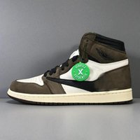 Wholesale authentic flat shoe canvas resale online - Authentic Travis Scott High OG TS SP Basketball Shoes Men Sneakers Sail Black Dark Mocha University Red CD4487 With Box