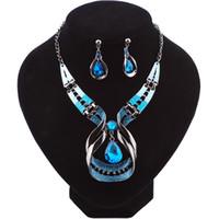 hacer joyas personalizadas al por mayor-Forma de gota azul maravilloso conjunto de joyería de las mujeres al por mayor por encargo conjunto de joyería nupcial conjunto de joyería de circonio cúbico