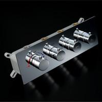 grifo de ducha cuadrado termostático al por mayor-Controlador de cabezal de ducha multifunción Latón Cromo válvula termostática de ducha de agua juego de ducha válvula desviador cuadrado grifo
