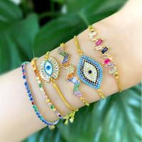 blaue augen schmuck großhandel-Gold Regenbogen Blau Evil Eye Armband Zirkon Runde Gold Gliederkette Armband weiblicher Charme Damen Schmuck Armband 2019