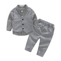 conjunto de pantalones al por mayor-Marca de moda para bebés Ropa para niño Set Beautiful Autumn Baby Child Suit Set Algodón Niños Camisa de vestir de manga larga + pantalones + chaleco J190715