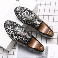 leoparddruck mokassins groihandel-2020 New Gesäumten Leopard-print Loafers Slip-on-beiläufige Schuh-Nachtclub-Kleid-Schuhe Designer Smoking Mokassins Schuhe Dropshipping