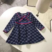sehr gute kleider großhandel-Sehr gute Designer Mädchen Kleid Langarm Baumwolle Kinder Kinder Outfit Herbst Herbst Kinder Prinzessin Mädchen Kleid