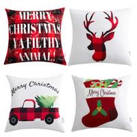 x camión al por mayor-Decoraciones navideñas de navidad Fundas de almohada de algodón y lino de navidad 18 x 18 con camión de navidad Ciervos Muñeco de nieve Papá Noel Patrón Regalos de Navidad