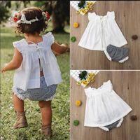 Wholesale cute blouse kids for sale - Group buy INS Kids Girls Summer Lace Sleeveless Tank Plaid Shorts Set cm Little Girls Toddler White Lace Up Vest Bow Blouse Briefs Suit A3122