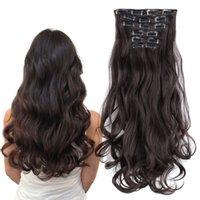 extensions de cheveux ondulés achat en gros de-Sara Ladies Kinky Curly Clip sur les extensions de cheveux 6PCS / Set 16 Clip ins Wavy Hair Piece Hairpieces Extensions Hairpiece 50CM 20Inch
