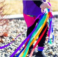 Wholesale kites toys for sale - Group buy Kids Toys Rainbow Color Stain Wooden Ring Ribbon Hand Kite Toy With Bell High Quality Toy for Birthday Party Favors