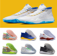 Wholesale kd high cut shoe for sale - Group buy 2019 New Kevin Durant XII High KD Warriors Home White Blue Yellow Mens Basketball Shoes Men Sports Shoes KD12 Sneakers Size7