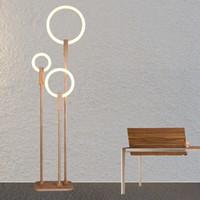 lâmpadas de chão de madeira venda por atacado-Nordic LED sala de estar iluminação moderna luminárias de chão Acrílico iluminação doméstica luminárias de madeira deco quarto lâmpadas de assoalho