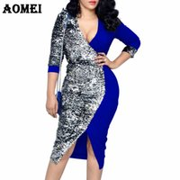 Wholesale sequined dresses for sale - Group buy Women Dress Sequined Patchwork Bodycon Elegant Ladies Officewear Slim Tunics Femme Package Hip Robes Sexy Office Lady Dress