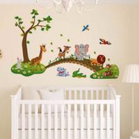 çıkartmalar yeni bebek toptan satış-Modern Yaratıcı Yeni Moda Karikatür Hayvanlar Çıkarılabilir Duvar Çıkartması Etiketler Çocuk Bebek Kreş Odası Dekorları PT