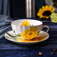 ingrosso set di tè moderni-Bone China Tea Coffee Tazza piattino Set Girasole Pattern Tazza da tè Set tazze da caffè in ceramica moderna Fancy Porcelain Tea Cup Gift