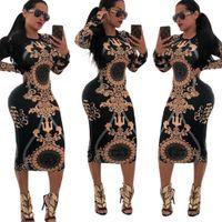 gece partisi sıcak elbiseleri toptan satış-Kadın Elbise Parti Gece Kulübü Vintage elbise Uzun Kollu Baskı Sıcak Satış Wrap Kalça Bodycon Kokteyl Bandaj elbise Seksi Elbiseler
