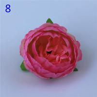 yapay şakayık çiçek başları toptan satış-Düğün Süslemeleri Için 10 cm Yapay Çiçekler Ipek Şakayık Çiçek Başları Parti Dekorasyon Çiçek Duvar Düğün Zemin Beyaz Şakayık