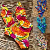 plaj çorapları toptan satış-Oymak Karpuz Baskı Yüzmek Aşınma Sandy Beach Yapışık Bikini Seksi Mayo Sıkı Uydurma Daha Renk 34sj C1