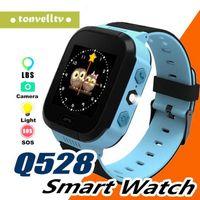 alarme de segurança para crianças venda por atacado-Q528 Smart Kids Assista Touch Screen Monitor de Segurança de Posição GPS SOS Chamada de Alarme colck Voz Conversando Relógio de Pulso com Flash luz
