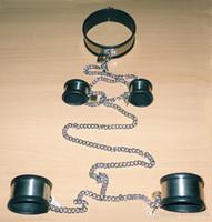 colar de aço pescoço bdsm venda por atacado-Ajustável de Aço Inoxidável Escravo Pescoço Anel de Punhos de Pulso Fetters Ankle Cuffs Bondage Set Cadeia Adultos BDSM Brinquedos Sexuais Para Masculino Feminino