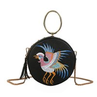 Wholesale flying bird women bags resale online - Retro Chinese Style Women Bag Leather Fly Bird Crane Circular Round Small Bag Messenger Crossbody Travel Purse Sac Femme