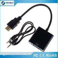 ingrosso audio digitale portatile-Cavo dati HDMI-VGA con cavo audio Convertitore video 1080P Adattatore Audio digitale-analogico per PC Laptop Tablet Proiettore MQ200