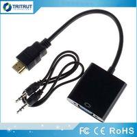 conversor de hdmi analógico venda por atacado-HDMI para cabo de dados vga com adaptador de conversor de vídeo 1080 p cabo de áudio digital para analógico de áudio para pc portátil tablet projetor mq200