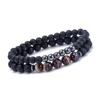 schwarzes perlen armband für frauen groihandel-Elatic Bead Armband Perlen schwarze Mantra Gebetskette Buddha Armband für Frauen und Herren Pulseras Masculina Valentines Geschenk
