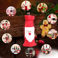ingrosso borsa da sposa rosa-Vino Rosso di Natale Borse copertura della bottiglia regalo di Natale Cena Babbo Natale decorazione Y1072 F