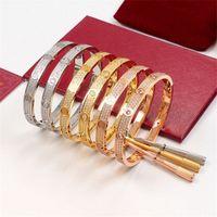 азиатский браслет 18k комплект оптовых-Титановая сталь Мужчины и женщины любят винтовые браслеты с полным бриллиантом CZ серебряный браслет из розового золота с отверткой