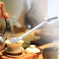 filtre kaşıkları toptan satış-Paslanmaz Çelik İçme Saman Kaşık Çay Filtresi Yerba Mate Çay Çörek Bombilla Kabak Kullanımlık Çay Araçları Bar Aksesuarları