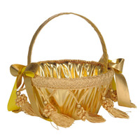 cestas de oro plata al por mayor-Cesta de niña de flores de plata dorada para bodas Cesta de pétalos de borla Accesorios de boda Accesorios de fotografía Favores de novia CPA1899