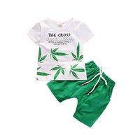 ingrosso tute sportive per bambini-Estate Bambini Ragazzi Ragazze Set di abbigliamento Bambini Leaf T-Shirt Shorts 2Pcs / Sets Toddler Leisure Tute Sportive per bambini in cotone