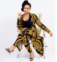 survêtements de femmes noires achat en gros de-Designer nouvelle mode classique or noir impression grande taille manteau sexy pantalon slim dames ensemble Survêtements pour femmes