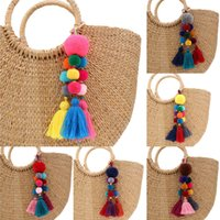 Wholesale key rings for beads for sale - Group buy 1pc Bohemian Style Wood Beads KeyChains Pompom Key Ring Bag Hanging Decoration For Women Gift