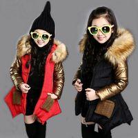 kinder kapuzenjacken mode großhandel-Einzelhandel Hohe Kinder Designer Wintermäntel Mädchen Luxus lang starke dünne Pelzkragen beschichten unten Art und Weise Baumwolljacke mit Kapuze Jacken outwear