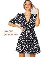 yazlık elbiseler satın al toptan satış-(Bir tane almak bir bedava) 2019 yaz yeni derin V kısa kollu kırık taş çiçek bel kravat h siyah elbise