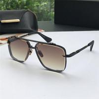 gafas de sol sin marco vintage al por mayor-Nuevas gafas de sol de lujo para hombres, gafas de sol vintage de metal, estilo cuadrado, lentes UV 400 sin marco con estuche original