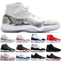 lacivert pimleri toptan satış-Pin 11 Donanma Yılan Derisi 11 s Erkek Kadın Basketbol Ayakkabıları Concord 45 Bred Uzay Reçel Kap Ve Kıyafeti Atletik Spor Sneakers Boyutu 36-47