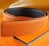 gürtel markennamen großhandel-Beste Qualität Designer Markenname Mode Herren Business Taille Gürtel Automatische Schnalle Echtledergürtel Für Männer 105-125 cm versandkostenfrei