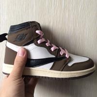 çocuklar için basketbol ayakkabıları erkek çocuklar toptan satış-Bebek Bebek Ayakkabı Çocuk Basket Ayakkabısı Tasarımcı Orta Kahverengi Travis Scott Cactus Jack Sneakers Erkek Kız Trainer Koşu Ayakkabı Kırmızı