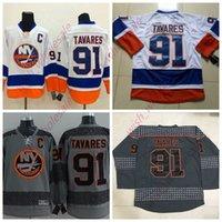 gri hokeyi formaları toptan satış-İnsanın Ucuz York Islanders Formalar 91 John Tavares Jersey Dikişli Yüksek Kalite Hokeyi Jersey Beyaz Gri