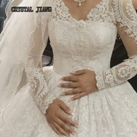 hijab moderno de noiva venda por atacado-Vestidos de casamento de renda completa muçulmano mangas compridas vestido de baile vestidos de noiva com Tribunal trem luxo frisado