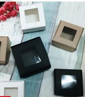 tampos de invólucro pvc venda por atacado-50 pcs 4 tamanhos branco preto caixa de papel kraft com janela de pvc caixa de embalagem caso display presente ofício papel papelão presente pequeno