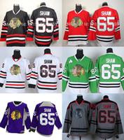 auténticas camisetas de hockey de china al por mayor-2016 Envío Gratis Auténtico Chicago Blackhawks Jerseys # 65 Andrew Shaw Jersey Barato Jerseys de Hockey Sobre Hielo de China