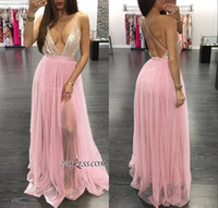 Wholesale hot sexy girls party dresses for sale - Group buy 2019 Sexy Deep V Neck Prom Dress Hot Black Girl Sequibed Spaghetti Oped Back A line Evening Dresses Formal Party Bridesmaid Gown