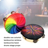Wholesale electronic percussion for sale - Group buy 8 Inch Percussion Instrument Double Row Color Tambourine Rainbow Tambourine Dazzling Black Tambourine Performance Stage Musical