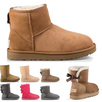 Wholesale warm winter tops for women for sale - Group buy New Australia womens classic snow boots top quality ankle short bow fur boot for winter chestnut women winter shoes size Keep warm