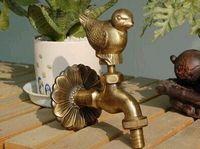 dış mekan muslukları toptan satış-Dekoratif Açık Musluk Ile Kırsal Hayvan Şekli Bahçe Bibcock Antik Bronz Serçe Çamaşır Makinesi Için Kuş Dokunun