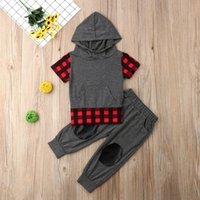 Wholesale pants short sleeves suits boys girls for sale - Group buy 2019 Toddlerrs baby boys and girls clothes short sleeve hoodie t shirt pants suit clothing